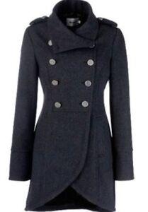 Designer Ladies Coats | Gestuz Military Long Coat Charcoal Grey Designer Ladies High Neck