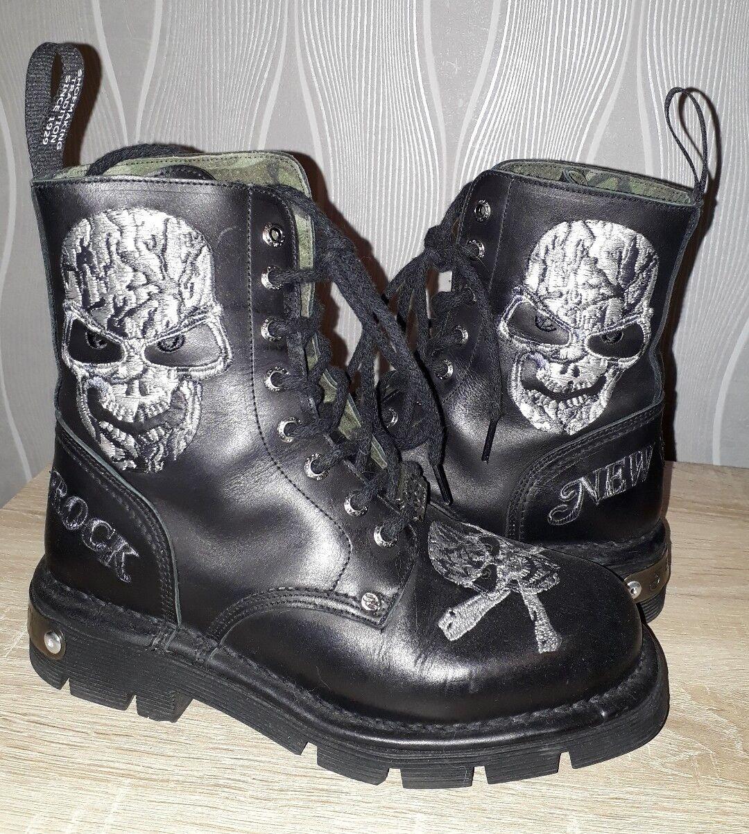 New Rock Stiefel 38,schwarz 38,schwarz 38,schwarz ,Skull 284596