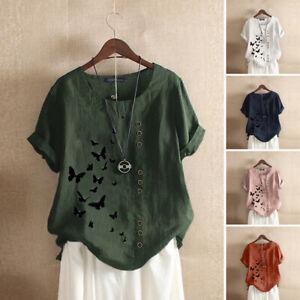 Mode-Femem-T-shirt-Tops-Haut-Confor-Loose-Manche-Courte-Col-Rond-Impression-Plus
