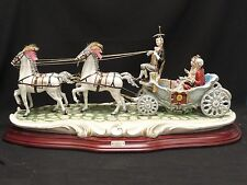 "RARE SIGNED HUGE 29"" CORTESE CAPODIMONTE PRINCE & PRINCESS IN CARRIAGE FIGURINE"