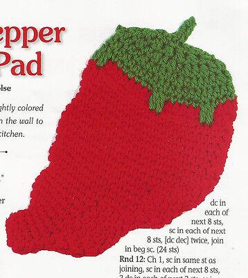 Crochet Pattern ~ HOT PEPPER HOT PAD ~ Instructions