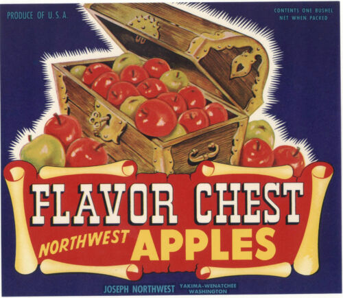 *Original* FLAVOR CHEST Pirate Treasure Booty Washington Apple Label NOT A COPY!