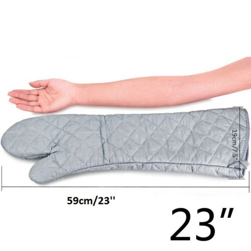 1pcs BBQ Kitchen Gloves Long 23 Inch Cotton Cloth Oven mitts Heat resistant BaKe