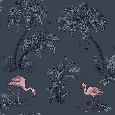 Flamingo Lake, Midnight Blue & Pink Flamboyant Tropical Wallpaper - 10m Roll