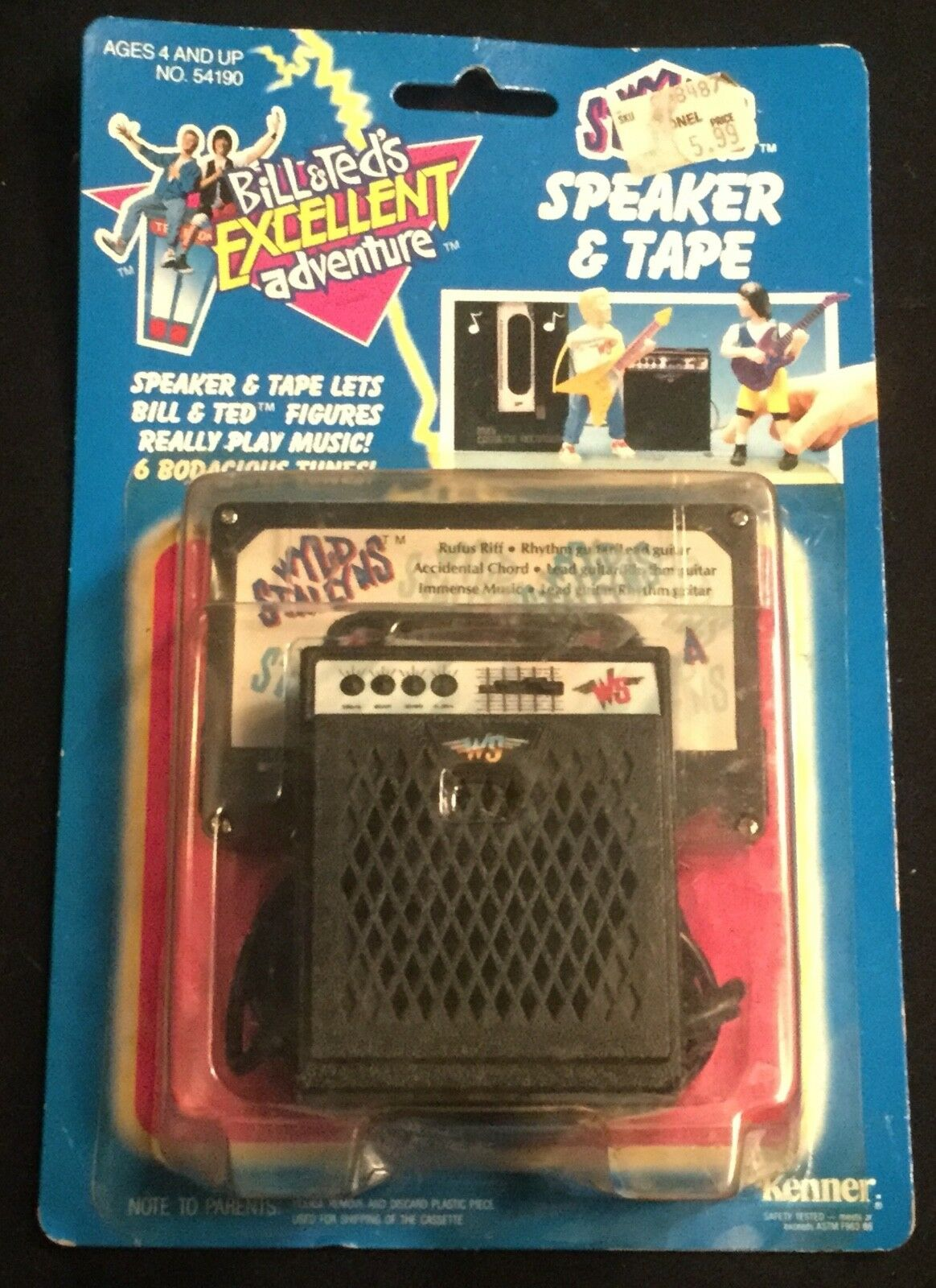 1991 KENNER Bill & Teds Excellent Adventure Wyld Stallions Speaker & Tape MOC