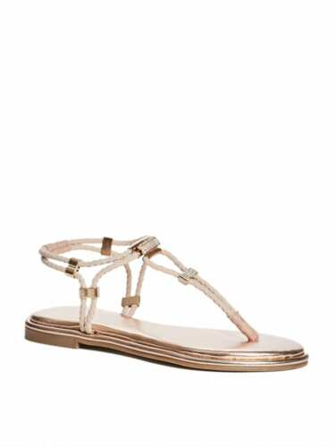 GUESS Factory Coins Stretch T-Strap Sandals