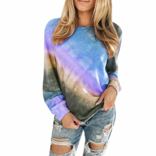 Womens Gradient Pullover T Shirt Ladies Long Sleeve Sweatshirt Blouse Plus Size