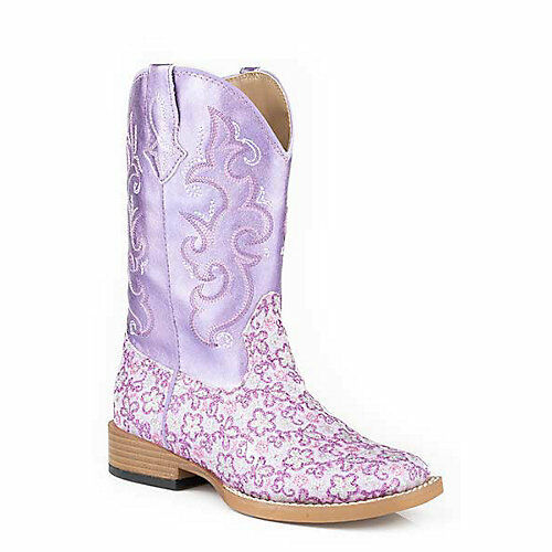 Roper Kids Lavender Square Toe Purple Boots