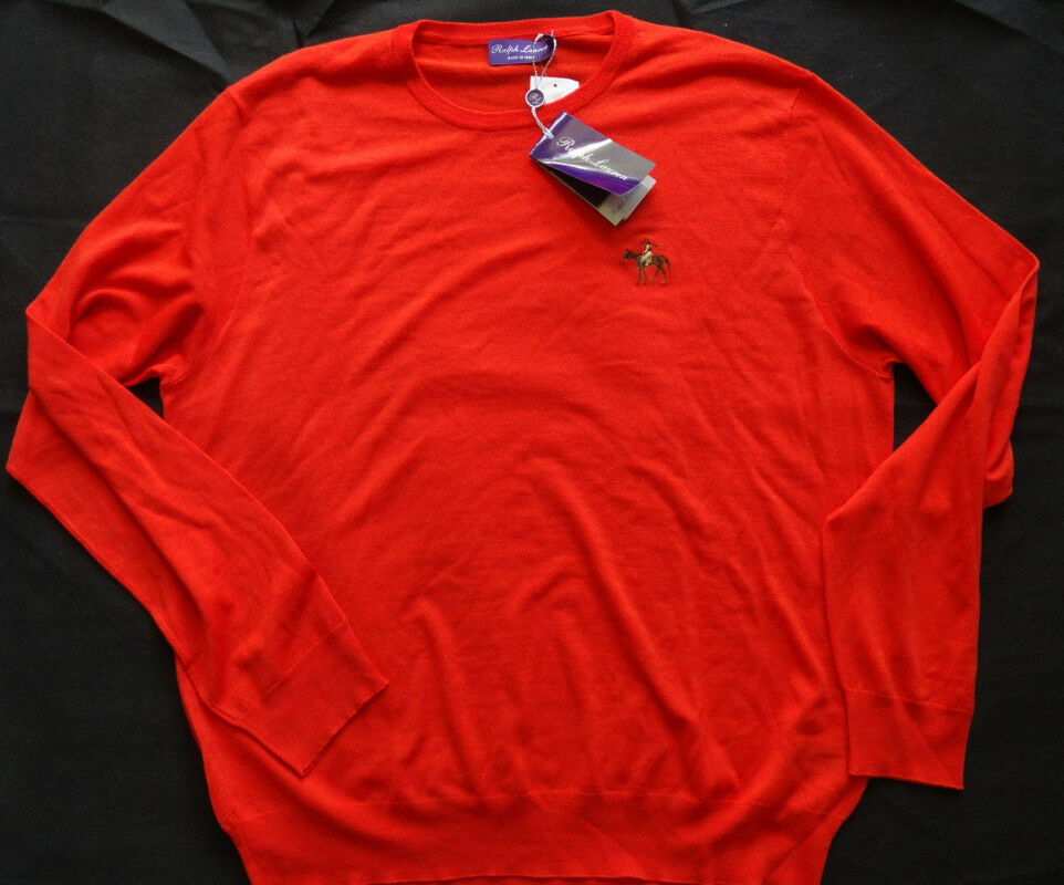 RALPH LAUREN lila LABEL 100%WOLLE  Sweater MADE IN ITALY Gr XL Orange
