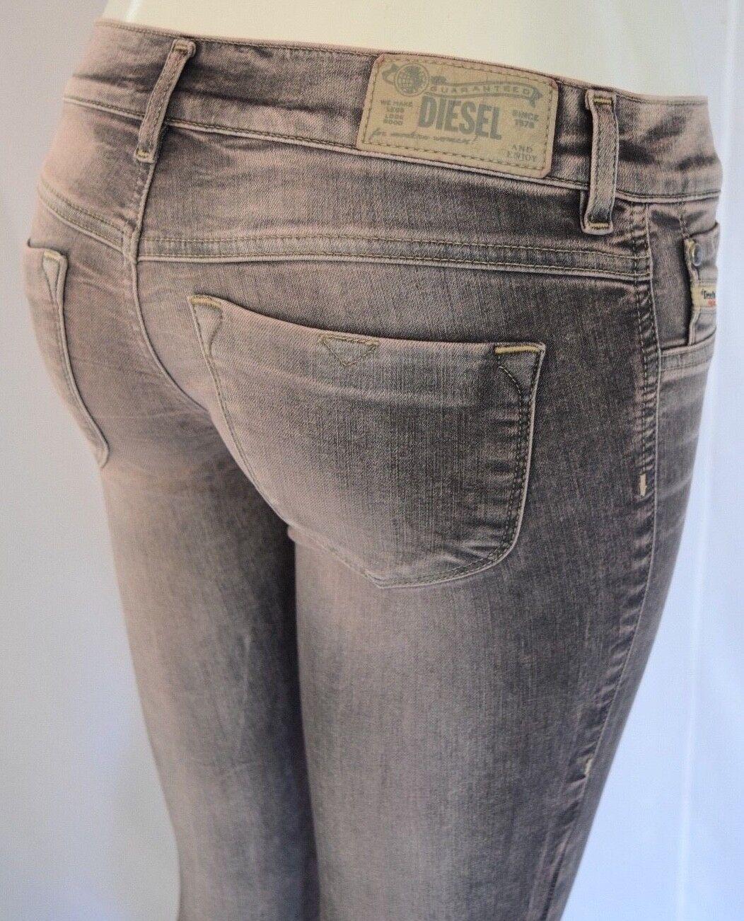 198 DIESEL LIVIER SUPER SLIM JEGGING Jeans Woman SZ 25 in 0602W DOVE GREY