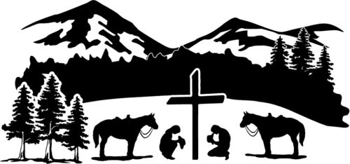 Cowboy Cowgirl Praying Kneeling Scene Cross Decal Window Bumper Sticker 2 Sizes