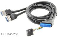 24 20-pin Motherboard Header Female To 2x Usb 3.0 Female Extension W/dip Cable