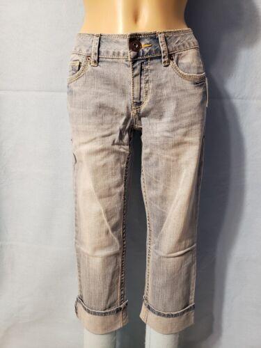 Details about  /New Aeropostale Junior Girls Blue Denim Jean Capri Pants Gold Stitching 5//6