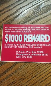 BASS ANGLERS SPORTSMAN SOCIETY OF AMERICA, Sticker, Reward 1000, Boat Warning