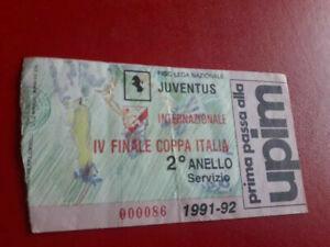 BIGLIETTI CALCIO STADIO JUVENTUS INTER 1991 92 | eBay