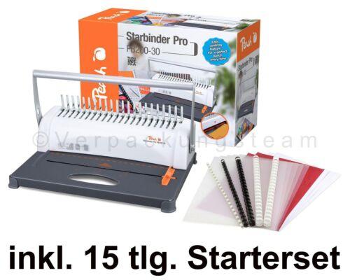 PEACH Bindemaschine Star Binder Pro bis 350 Blatt inkl.  15 tlg. Starterset