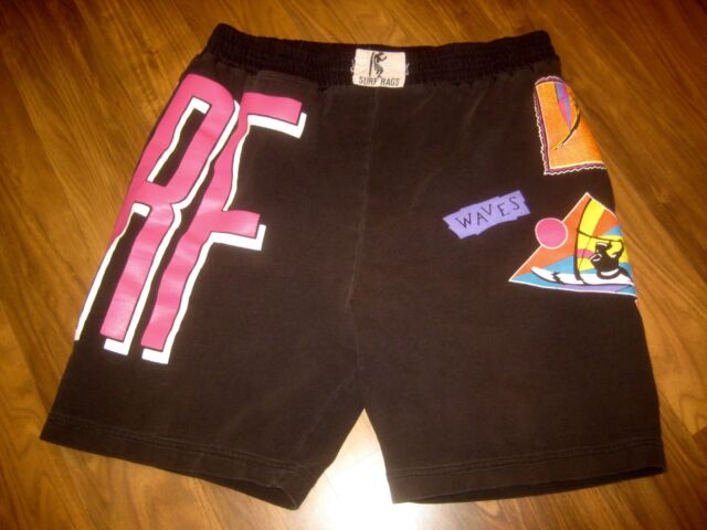 Vtg 80s Black SURF RAGS Neon BEACH Surfer polycotton athletic shorts Adult SMALL