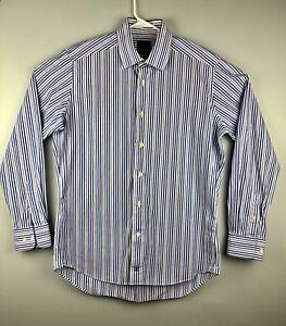 79a3e95da David Donahue Trim Fit Purple Blue Striped Long Sleeve Dress Shirt ...