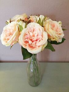 Bunch of 5 vintage peach artificial cabbage roses realistic faux image is loading bunch of 5 vintage peach artificial cabbage roses mightylinksfo