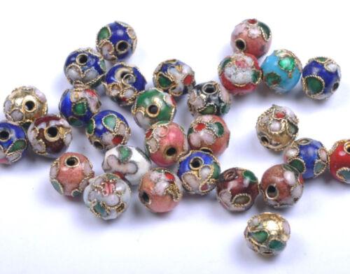 20PCS mixed color round Cloisonne spacer beads 6MM JK0078