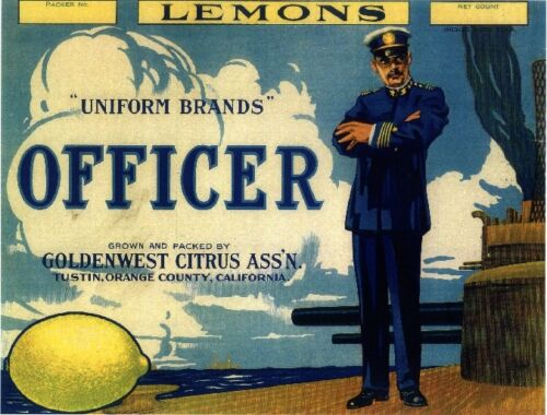 Tustin Navy Officer WW I Lemon Citrus Fruit Crate Label Art Print