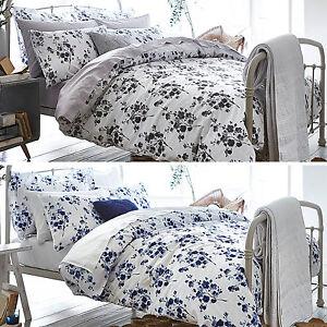 Bianca Sprig Cotton Print Floral White Blue Grey Duvet Quilt Cover