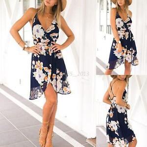 Women-Summer-Boho-Chiffon-Floral-Beach-Sundress-Maxi-Cocktail-Party-Short-Dress