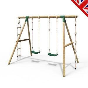 Rebo Wooden Garden Swing Sets – Eclipse Double Swing Ladder & Climbing Rope