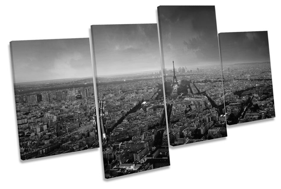 Paris Paris Paris Skyline City Sunset B&W CANVAS WALL ART MULTI  Box Framed a247ee