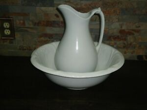 ANTIQUE-PITCHER-AND-WASH-BASIN-J-amp-G-MEAKIN-ENGLAND-WHITE-PORCELAIN