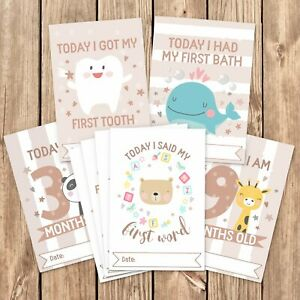 Baby-Milestone-Cards-1st-Year-Memorable-Moments-Boy-Girl-Unisex-Age