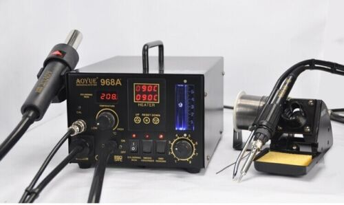 3-in-1 rework station hot air gun soldering iron AOYUE 968A smoke absorber