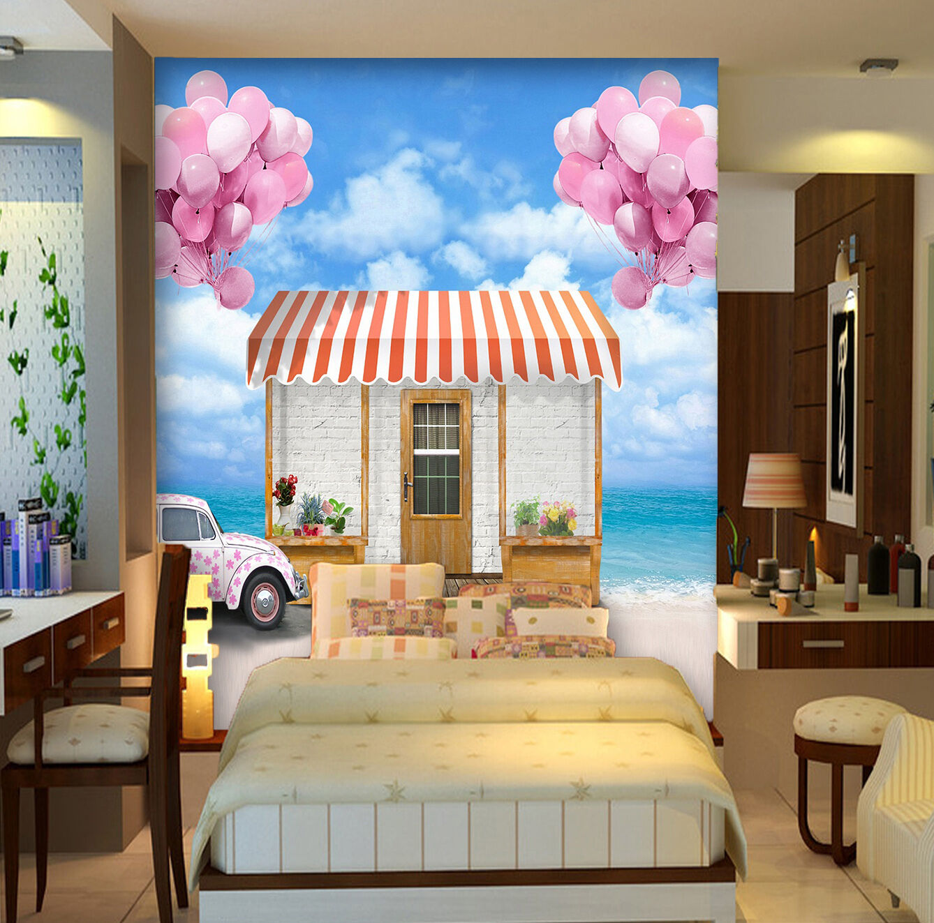 3D balloon house car Wall Paper wall Print Decal Wall Deco Indoor wall Mural