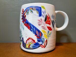 "Starla M. Halfmann Anthropologie Letter Initial Monogram ""S"" Mug Cup 16 oz"