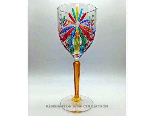 "/""SORRENTO/"" WINE GLASSES HAND PAINTED VENETIAN GLASSWARE GLASSWARE SET//6"