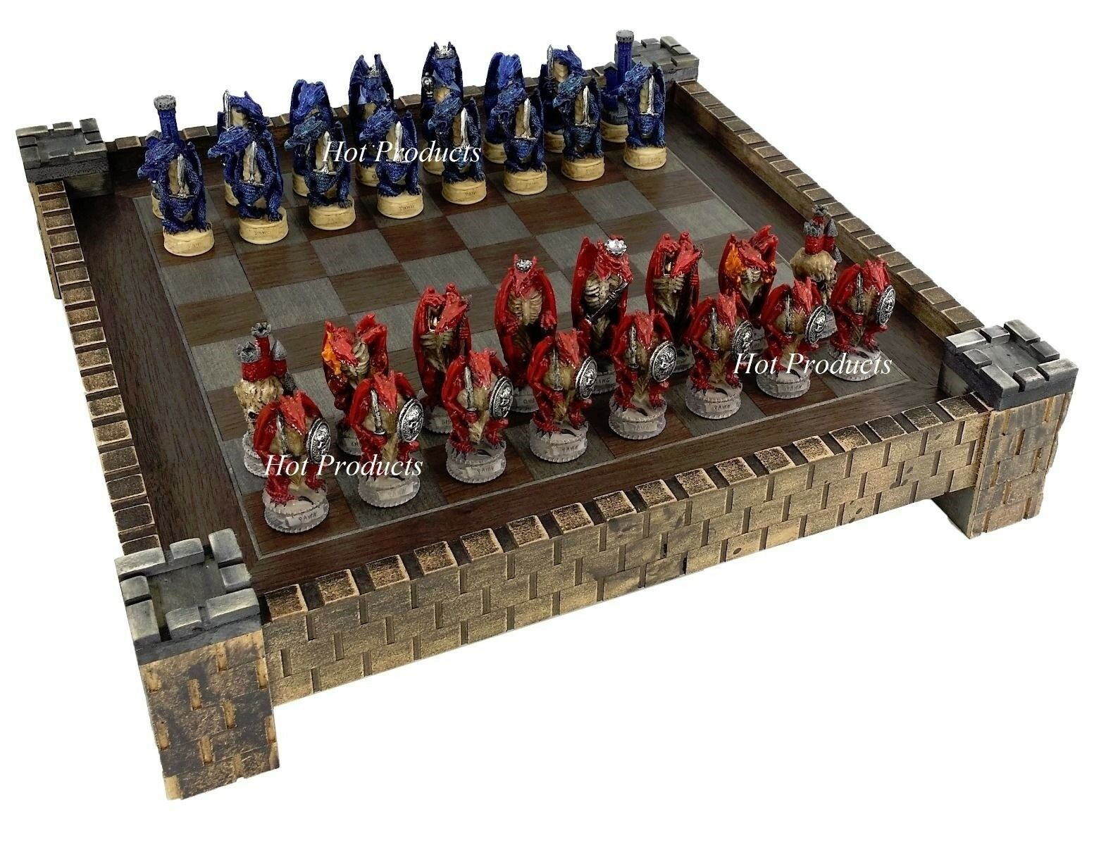 MEDIEVAL DRAGON FANTASY Rouge & Bleu Chess Set W Château Board 17 1 2