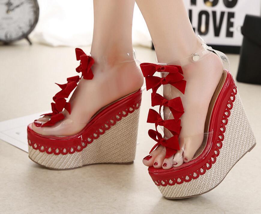 Women's Transparent Transparent Transparent Bowknot T-Strap Open Toe Strappy Wedge Platform Sandal Size 7c43a5