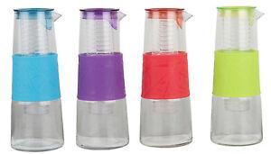 wasser glaskaraffe karaffe mit fr chte beh lter einsatz trinkflasche 1 liter neu ebay. Black Bedroom Furniture Sets. Home Design Ideas