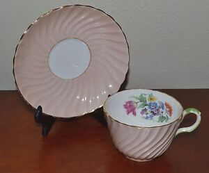 Image Is Loading Vintage Aynsley Pink Tea Cup Amp Saucer Bone