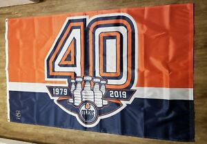 new arrivals e5a83 9daaf Details about Edmonton Oilers NHL Anniversary 40th Year in NHL Car Auto  Truck Flag 3 x 5