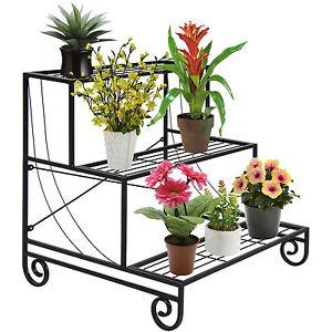 Image Is Loading Vintage 3TIER Metal Shelves Flower Pot Plant Stand
