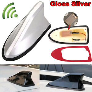 Gloss-Silver-Upgraded-Signal-Shark-Fin-Antenna-Car-Roof-FM-AM-Auto-Radio-Aerial