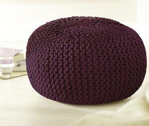 strick sitz pouf strickpouf sitzpouf sitzkissen sitzhocker bordeaux ca 40 cm ebay. Black Bedroom Furniture Sets. Home Design Ideas