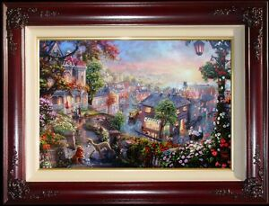 Thomas-Kinkade-Lady-and-the-Tramp-18x27-G-P-Canvas-w-Heart-Remarque-Disney