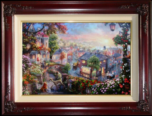 Thomas Kinkade Lady and the Tramp 18x27 A/P w/Heart Remarque Disney Canvas