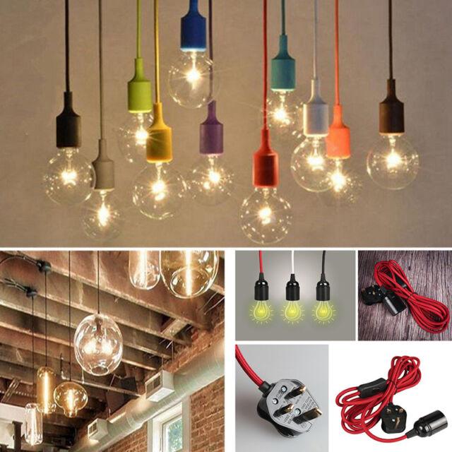 promo code 04f37 8cd49 Fabric Flex Cable Plug In Pendant Lamp Light Set E27 Fitting Vintage Bulb  Holder