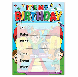 16 a6 birthday party invitations kids blank invites bouncy castle