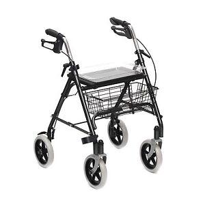 Mobility Rollator Folding Walking Aid Frame 4 Wheeled