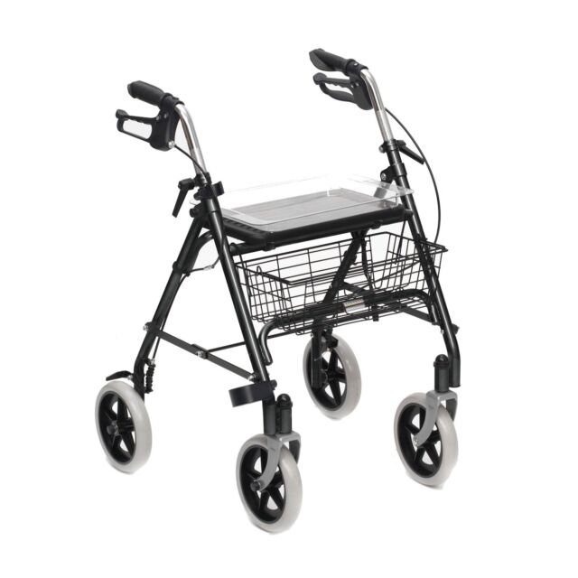 Mobility Rollator Folding Walking Aid Frame 4 Wheeled Walker Seat ...