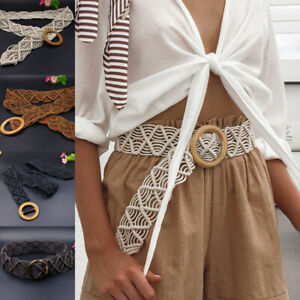 Robe-Femme-Ceinture-Tisse-Bande-bois-boheme-large-TRENDY-ete-crochet
